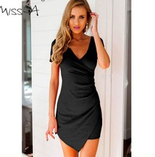 NEW hot selling dress women 2015 causal summer soft chiffon nice beach dress white black V neck girls sexy club dress sizeM #E67(China)