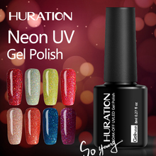 Huration Neon Glitter Nail Gel Polish Soak Off 19 Colorful UV LED Gel Nail Art for Gel Varnish Art Lasting Gel 8ml Colorful(China)