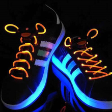 New Cool 19 Color For Pick LED Flash Light Up Flashing Colored Glow Neon Shoelaces Luminous Laces Party Glow in the Dark Toys(China)