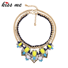 KISS ME Hyperbole New Statement Necklace New Brand Multi Layer Fashion Choker Necklace Women Gifts