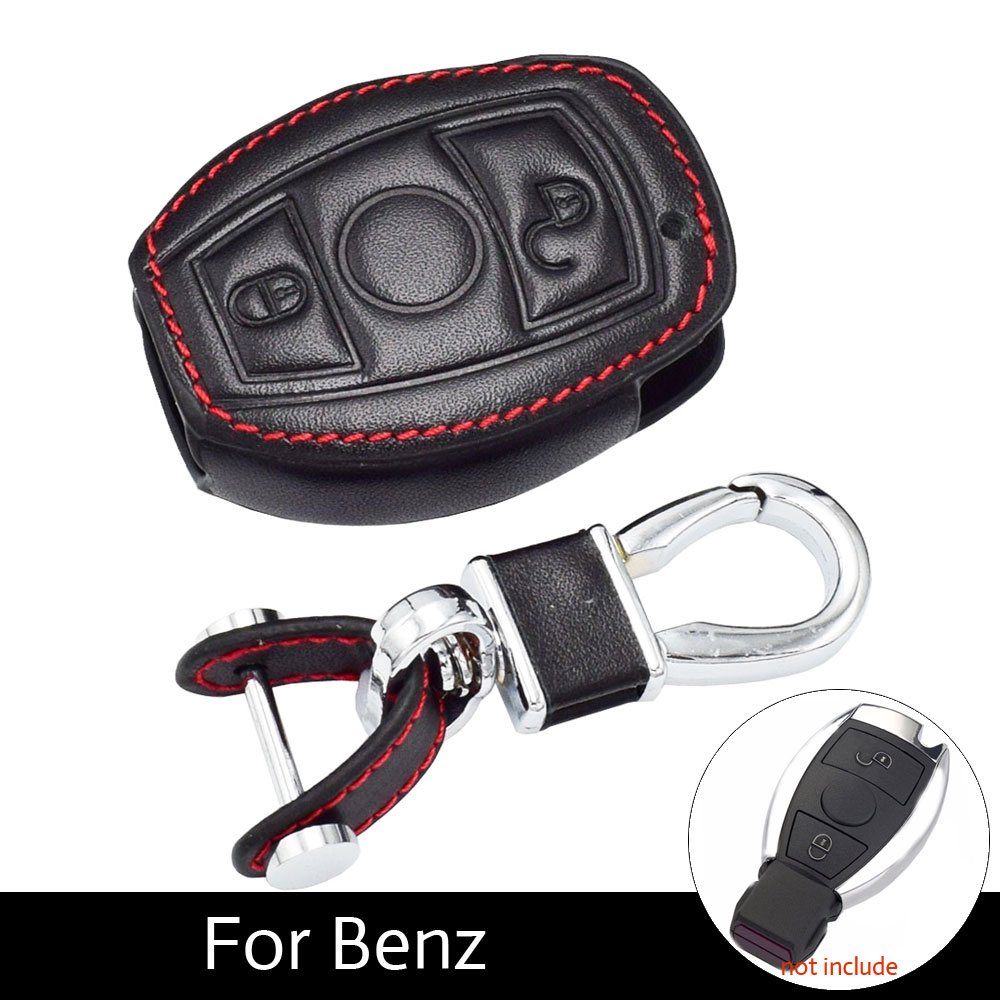 ATOBABI Leather Car Remote Fob Keys Protection Cover Cases Mercedes Benz E C Class C260 2 Buttons Smart Keys Car Styling