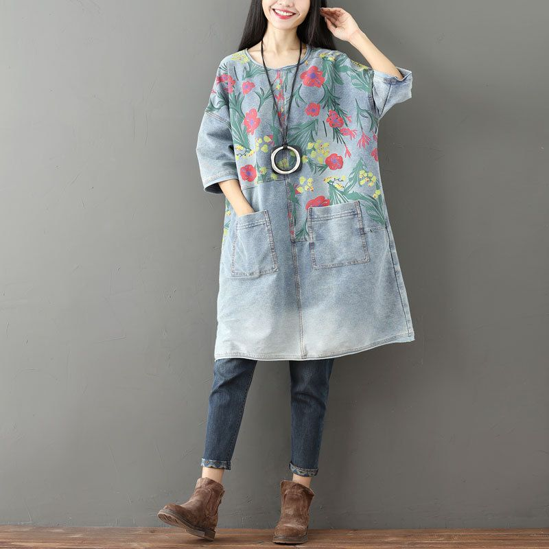 Mori Girl Printed Knitted cowboy Dress 2017 Ladies H Sleeve Oversized Jeans Dress Female Bleached Vintage Denim Robe G101202Îäåæäà è àêñåññóàðû<br><br>
