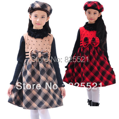 Retail 2017 Autumn And Winter New Children Girls Plaid Vest Dress Princess Bow Stage Performances Dress For 4-12Years<br><br>Aliexpress