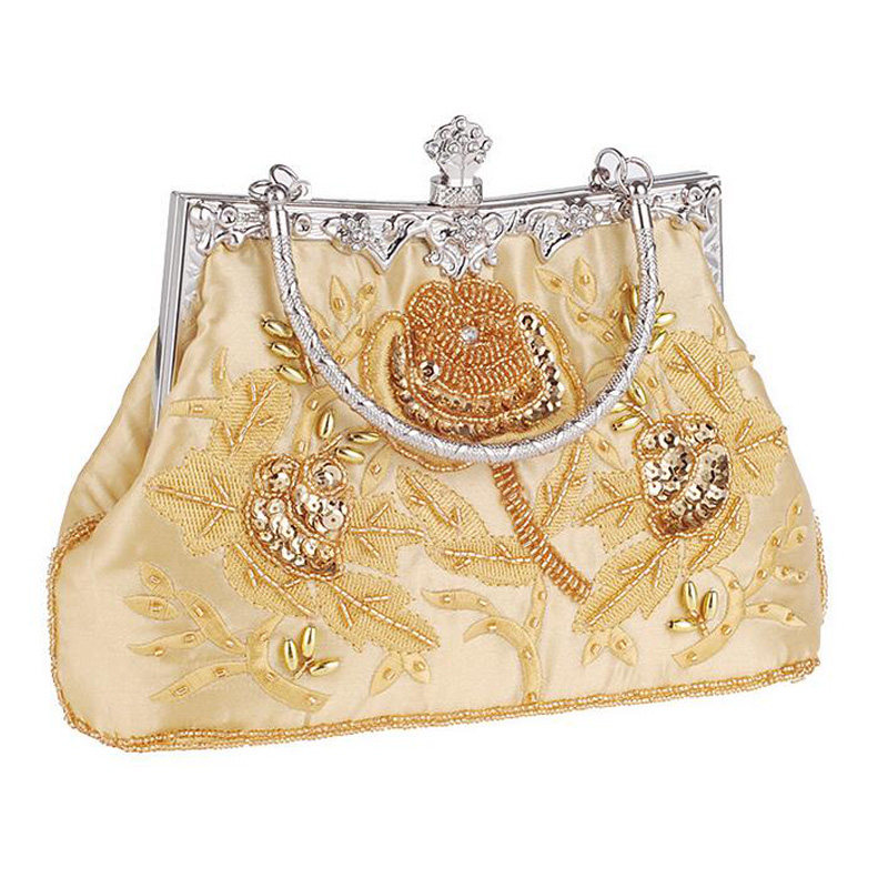 Vintage Handmade Embroidery Flower Diamond Evening Bags Wedding Bride Beaded Shoulder Bags Party Day Clutches Purse Wallet Li670<br><br>Aliexpress