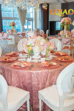 LQIAO 120-Inch Round Sequin Tablecloth for Wedding Party Cake Dessert Table Exhibition Events Decoration,Pink Gold Table Cloth