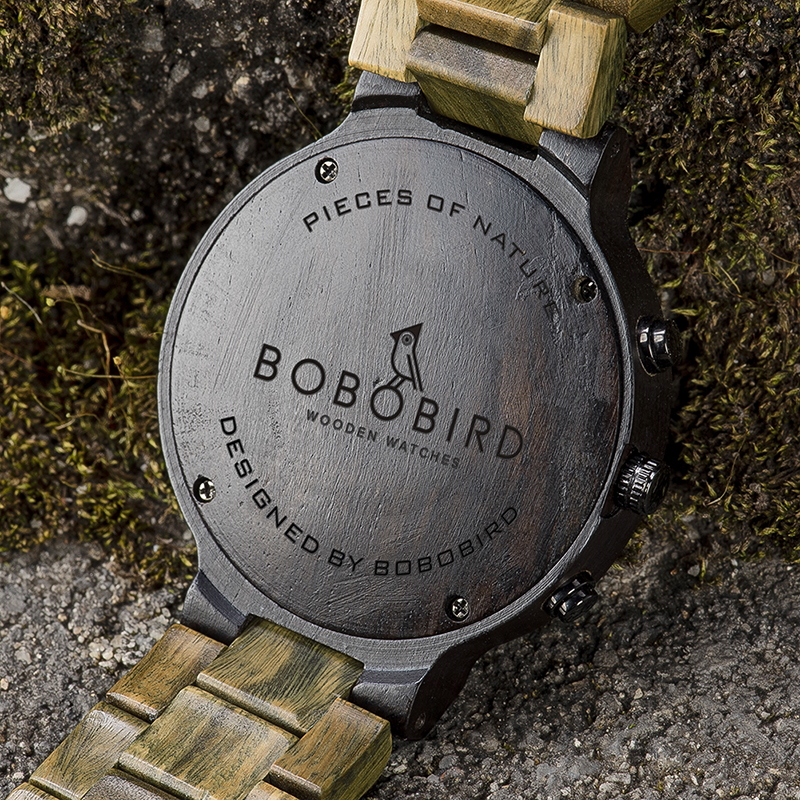 BOBO BIRD Green Sandalwood Wooden Watch Men Timepieces Chronograph Quartz Watches Ultra-Light relogio masculino Great Gifts