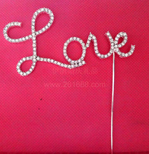LOVE Crystal Cake Topper Birthday Cake Decoration Wedding Love Cake Card Wedding Supplies