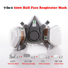 New 7-In-1 6200 Dust Gas Respirator Half Face Mask For Painting Spraying Organic Vapor Chimel Gas Filter Work Safety