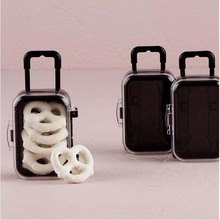 12pcs/lot Mini Rolling Travel Suitcase Wedding Favor Box Plastic Candy Boxes baby shower souvenirs gift box