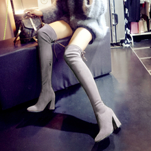 Women Stetch Fabric Thigh High Boots Short Plush Thick Warm Winter Long Boots  Butterfly Knot Fashion Boots 20170107