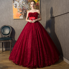 Free Shipping Luxury Burgundy Strapless Singer Performance Ball Gown High Quality Solid Lace Appliques Party Dresses