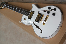 Factory custom white semi-hollow thick body LP small JAZZ electric guitar with double f holes,gold hardware,can be changed