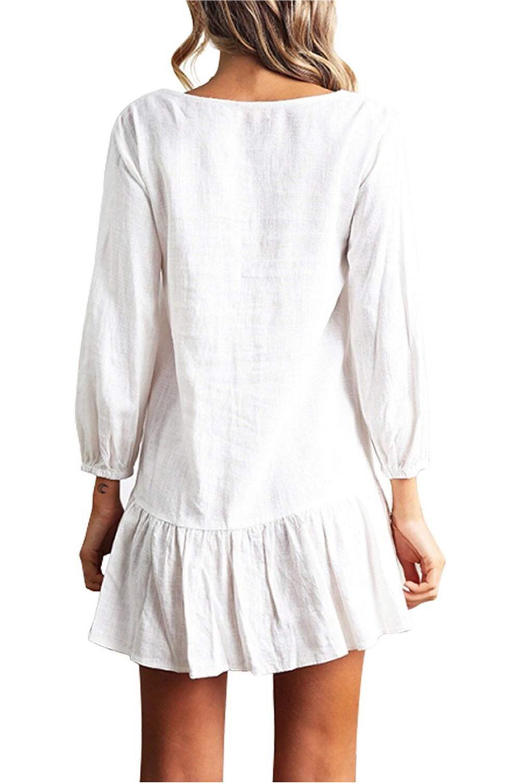 Women Autumn Dresses V Neck Cotton Linen Dress Femme 2018 Mini Casual Ruffle Long Sleeve T Shirt Dress Women Linen Dress 6