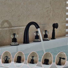 Curve Shape Waterfall Spout Tub Faucet for Bathroom Different Handles with Handshower Oil Rubbed Bronze(China)