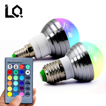 1Pcs E27 E14 LED RGB Bulb lamp AC110V 220V3W LED RGB Spot light dimmable magic Holiday RGB lighting+IR Remote Control 16 colors