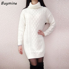 Buy Knitted Winter Warm Dress 2017 Women Winter Turtleneck Sweater Dress White Knitted Warm Dresses Long Sleeve Knitted Sweater for $20.49 in AliExpress store