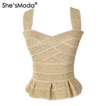 She'sModa Elegant Ruffles Bandage Gold Slim Push Up Women's Spandex Club Party Tank Camis Vest(China)