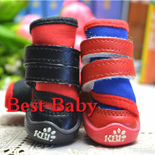 New 4pcs/set Red/Blue/Black Neoprene New Senior Waterproof Dog Boots 1032 Brand New Dachshund Shoes For Pet Cat Animal(China)