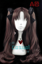 Fate/Zero Fate Stay Night Tohsaka Rin 80cm Long Dark Brown Synthetic Hair Anime Cosplay Wig Heat Resistant Cos Wigs(China)