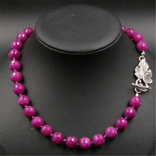 Classic Vintage Natural Stone Jewelry Noble Rubies Beaded Chain Strand Necklace with Grape leaf Shape Bolt Buckle 47cm