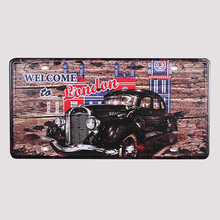 "Free Shipping Metal license plate ""Welcome to London"" poster Metal Art wall decor House Cafe Bar decor vintage painting 15*30 CM"