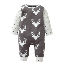 Christmas Baby Rompers Long-sleeved Deer Printed Newborn Toddler Jumpsuit Baby Boys Girls Clothes Infant Clothing(China)