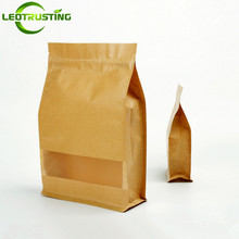 50pcs Stand up Kraft Paper Frosted Window Zip Bag Coffee Snack Cookie Tea Packaging Bag Paper Storage Ziplock Bag Gift Pouches
