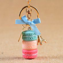 Macarons Cake Key chain nice cute France Cake Macarons LADUREE Keychain car Key Ring women bag Pendant gift Jewelry 17278(China)
