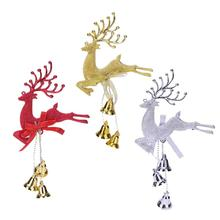 Home Christmas Tree Ornaments Deer with Bells Hanging Pendant Decoration Party Favor Navidad Supplies Xmas Products