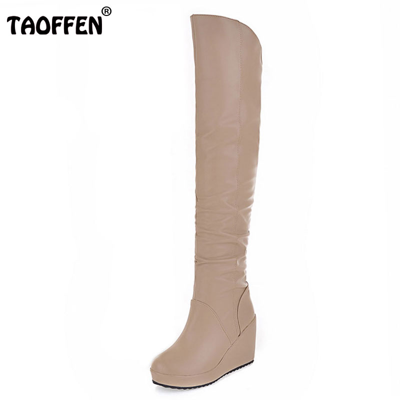 TAOFFEN Free shipping over knee long wedge boots women snow fashion winter warm boot footwear shoes P9542 EUR size 34-39<br>