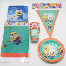 42pcs\lot Kids Minions Decoration Napkins Favors Paper Plates Cups Birthday Party Gift bags Baby Shower Tablecloth Supplies