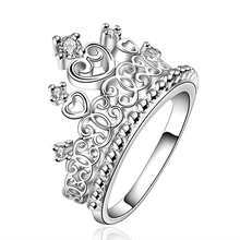 2016 New Fashion Women Stunning CZ Silver Plated Princess Queen Crown Ring Band Wedding Jewelry