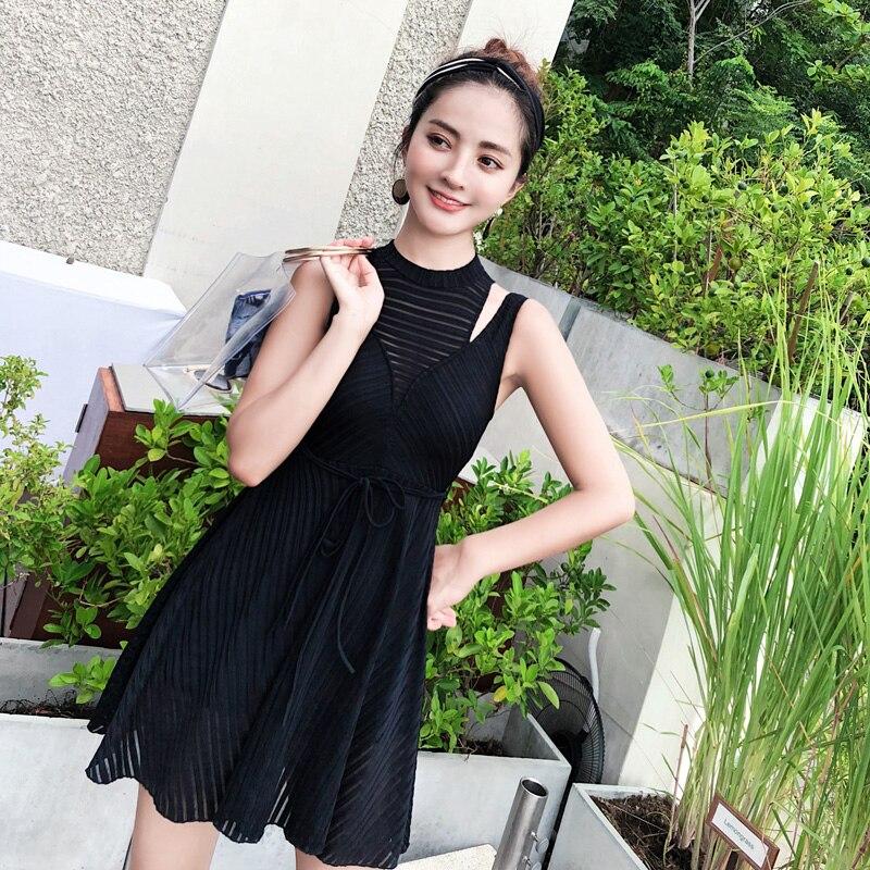 Swimwear Dress Swimming Suit for Women Black Lace  One Piece Swimsuit 2018 Summer Beach Wear Bathing Suits Halter Swim<br>