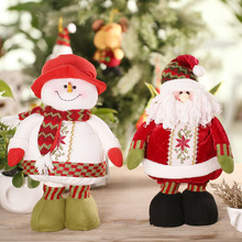 Festnight Retractable Doll Christmas Santa Claus Snowman Doll 55*25cm Christmas Ornaments Favor Gift Party Decoration