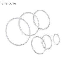 She Love 6pcs Oval Metal Cutting Dies Stencil DIY Scrapbooking Embossing Paper Card Album Decorative Craft