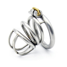 Buy Newest 304 Stainless Steel Cock Cage Male Chastity Device Penis Rings Virginity Lock Cock Ring Adult Game Chastity Belt Men