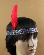 Free Shipping! Indian Style Headdress Feather Adult and Kids Ribbon Headband Dress Prom Dance Party Headwear Hair jewelry