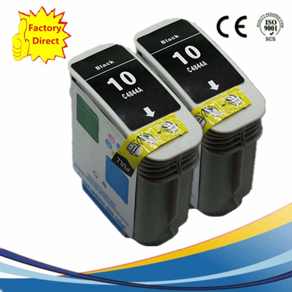 2 Black Ink Cartridges For HP HP 10 HP10XL 10XL HP10 Designjet 110 plus nr 70 Officejet Pro K850 K850dn 9100 9110 9120 9130(China (Mainland))