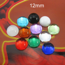 Free Shipping - 12mm Half Round Smooth Cabochons,Assorted Colors Acrylic Cabochon Bead,Flat Back Glue on Cabochon For Jewel DIY
