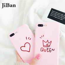 JiBan Cute Pink Queen Love Crown Drawing Case For iphone 8 Plus Woman Girl Style TPU Soft Back Phone Case For iphone 6s 7 Plus(China)