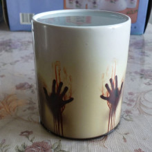 Newest Design Zombie Magic Color Changing Coffee Mug printing with Walking Dead Bloody hands and Head picture(China)
