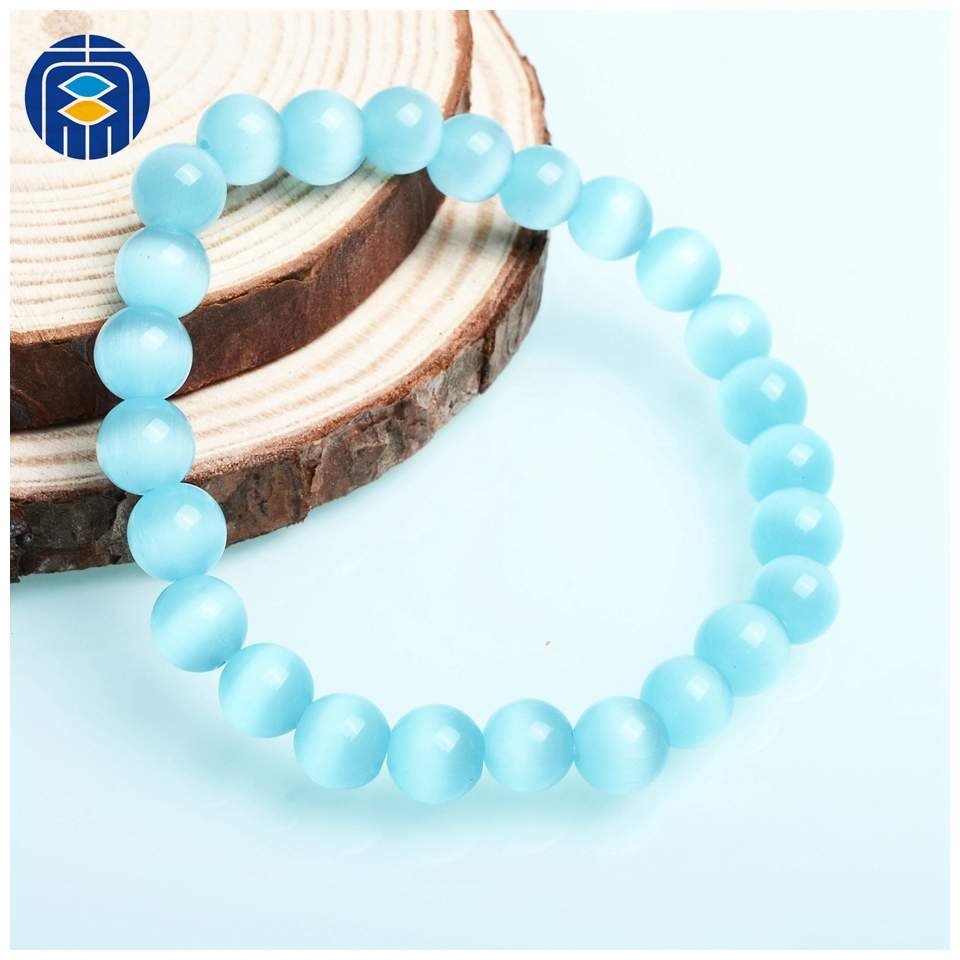 JuleeCrystal Natural Stone Bracelets Wholesale Fashion 8mm Opal Beads Bracelet For Women Men Cat's Eye Beads Bracelets