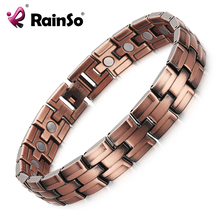 RainSo Copper Bracelets with Magnet for Men Women Arthritis Pain Relief Bronze Color High Quality Luxury Magnetic Bracelet(China)