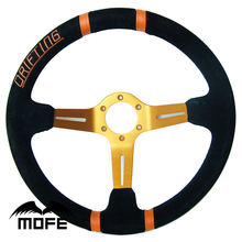 SPECIAL OFFER HOT SALE Gold Spokes Black Stitch Deep Corn Dish Suede 350mm Racing Car Steering Wheel With Original Logo Pack