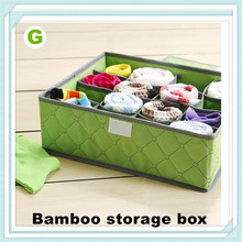 Bamboo charcoal colored soft cover 16 grid Underwear storage box storage bag storage box clothing dust and damp proof