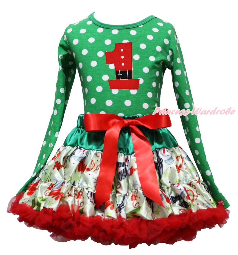 Xmas Birthday Santa Claus 1ST Green White Dot Top Snowman Skirt Girl Outfit 1-8Y<br>