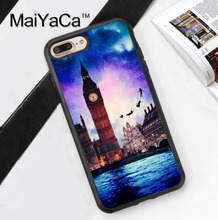 Fairytale Peter Pan London Big Ben Phone Case Shell For iPhone 6 6S Plus 7 7 Plus 5 5S 5C SE 4 4S Rubber Soft Cell Housing Cover