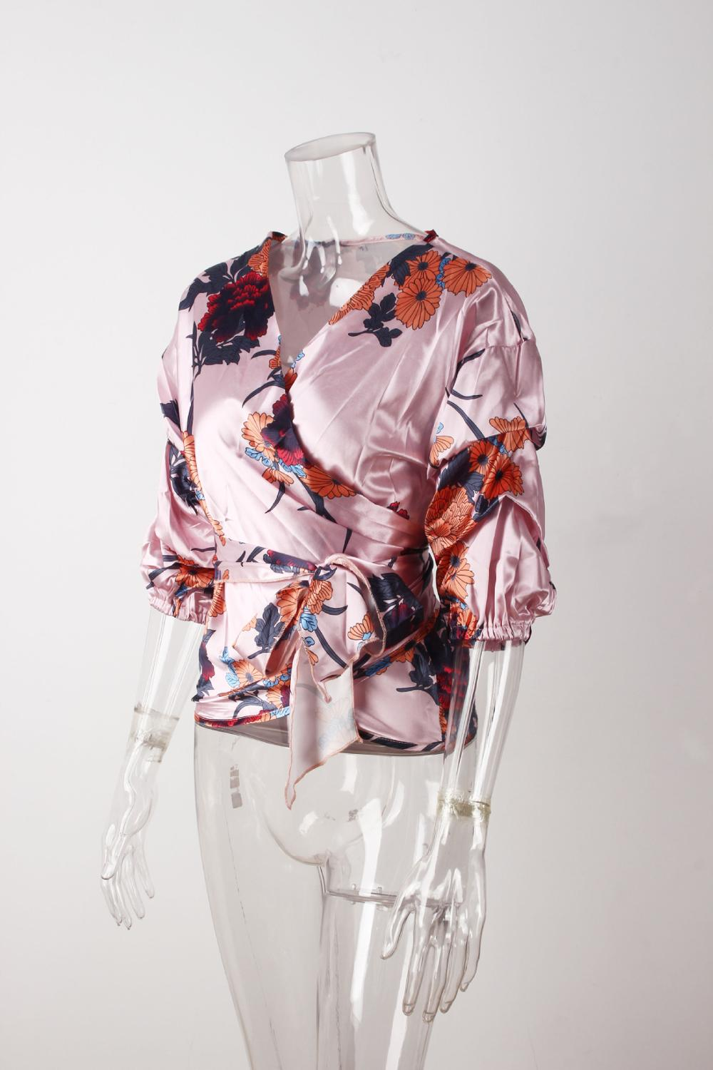 LOSSKY Women V-Neck Sexy Boho Blouse Print Floral Bandages Long Sleeve Blouse Bohemia Ladies Top Shirts Blouses Summer 2018 17