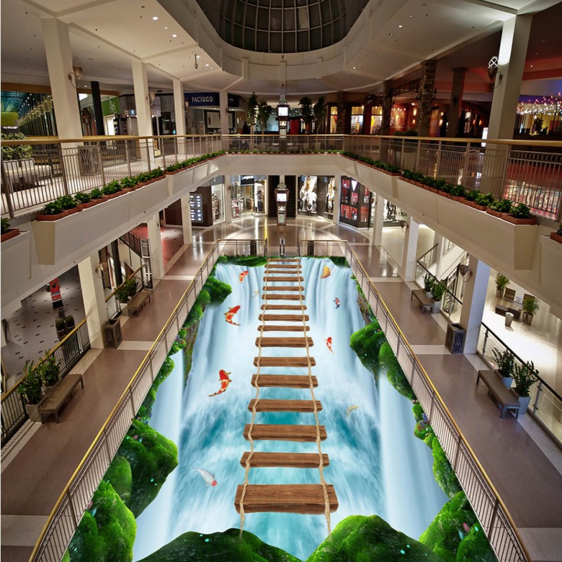 Free shipping custom corridor aquarium decoration Outdoor waterfalls carp waterproof PVC floor wallpaper mural<br>
