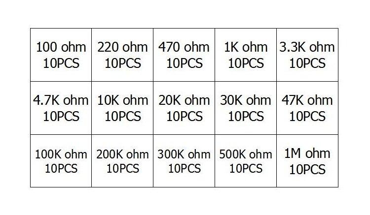 15 Values 150 Pcs 100 Ohm 2M Variable Resistor 6Mm Potentiometer Assortment Kit